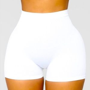 White Seamless Basic Fitted Mini Bike Shorts